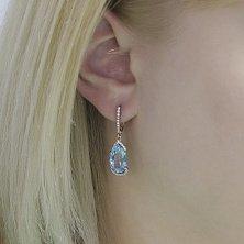 573708acb379 Серьги с голубыми топазами  купить сережки с топазами голубого цвета ...