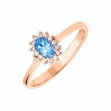 Золотое кольцо Мария с темно-голубым топазом и фианитами
