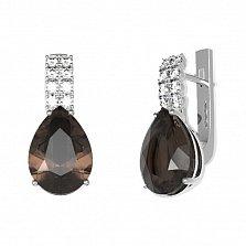 Серебряные серьги Полина с раухтопазом и фианитами