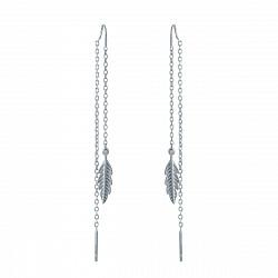 Серебряные серьги-подвески с фианитом 000142686