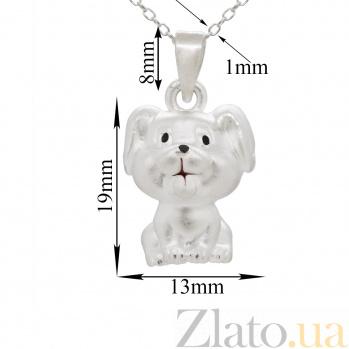 Серебряное колье Радостный щенок с черной и красной эмалью 000082161