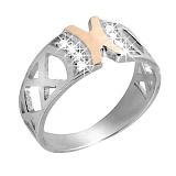 Серебряное кольцо с золотом и фианитами Агата