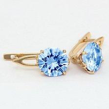 Серьги из золота с голубыми топазами Селесте