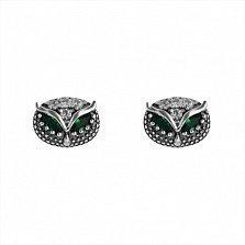 Серебряные серьги-пуссеты Совёнок с зелёными и белыми фианитами
