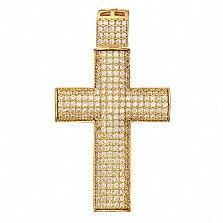 Крестик в желтом золоте Желание с фианитами