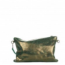 Кожаный клатч Genuine Leather 1661 цвета зеленая голограмма с короткой ручкой на запястье и молнией