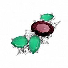 Серебряное кольцо Шейла с гранатом, зеленым агатом и фианитами
