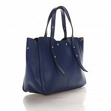 Кожаная деловая сумка Genuine Leather 8920 синего цвета с фигурными краями и мелкими заклепками