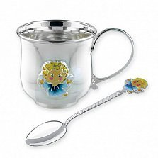 Детский серебряный набор посуды Ангелочек