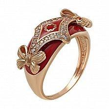 Кольцо в красном золоте Лейла с эмалью и фианитами