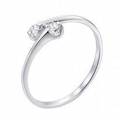 Кольцо в белом золоте Дуєт с бриллиантами