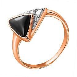Позолоченное кольцо из серебра с ониксом и фианитами 000028445