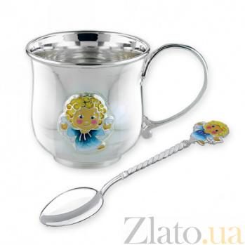 Детский серебряный набор посуды Ангелочек 2.8.0153_2.91.0074