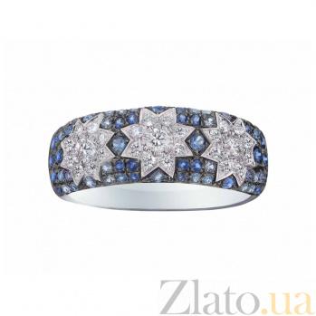 Кольцо из белого золота Три звезды с бриллиантами и сапфирами 000080998