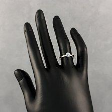 Серебряное кольцо Милена с золотыми накладками и завальцованным фианитом