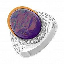 Серебряное кольцо Николетта в комбинированном цвете с узорной шинкой и синтезированным опалом
