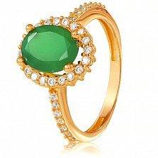 Золотое кольцо Альда с зеленым ониксом и фианитами