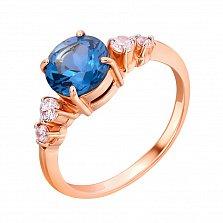Золотое кольцо Сингапур с нано лондон топазом и белыми фианитами