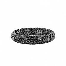Золотое кольцо с черными бриллиантами Два ангела
