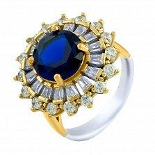 Кольцо из серебра и бронзы Маргарет с сапфиром и фианитами