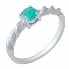 Серебряное кольцо Ровенна с изумрудом
