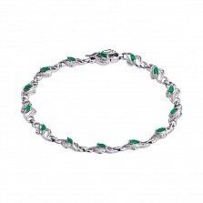 Серебряный браслет Каприз с зеленым агатом и фианитами