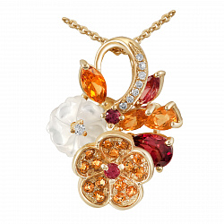 Золотой кулон с бриллиантами, цитринами, родолитами, и перламутром Осенний каприз 000037961