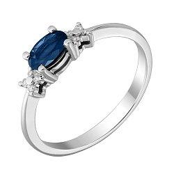 Кольцо из белого золота с сапфиром, бриллиантами и родированием 000131394