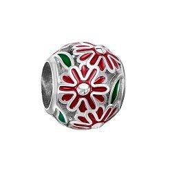 Серебряный шарм с красной эмалью 000116386