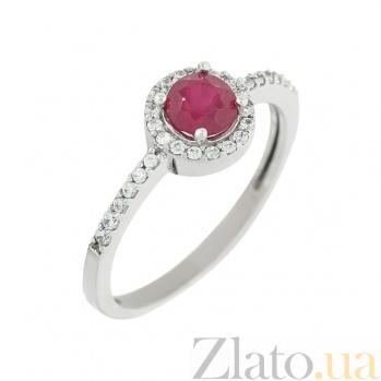 Золотое кольцо с рубином и фианитами Клара  2К480-0172