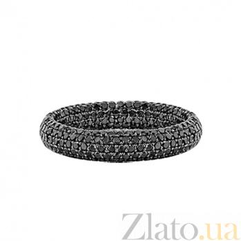 Золотое кольцо с черными бриллиантами Два ангела 000029606