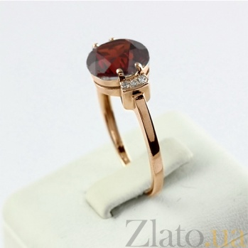 Золотое кольцо с гранатом и фианитами Крейтер 000024476