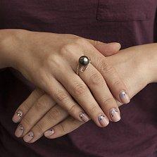 Золотое кольцо Аргентина с черным жемчугом и фианитами