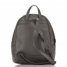 Кожаный рюкзак Genuine Leather 8482 серого цвета с дополнительным карманом на молнии