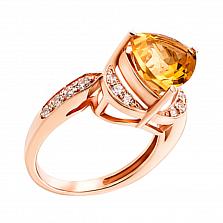 Кольцо из красного золота с цитрином и фианитами 000131022