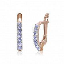 Серебряные серьги Хельга с синими фианитами и позолотой