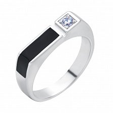 Серебряный перстень-печатка Фред с черной эмалью и фианитом