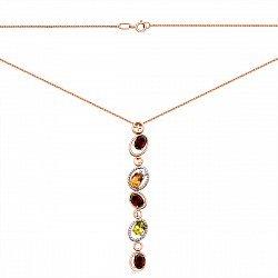 Золотое колье в комбинированном цвете с гранатами, хризолитом, цитрином и фианитами 000137785