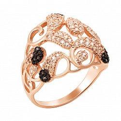 Золотое кольцо Динара в комбинированном цвете с черными, белыми и шампань фианитами