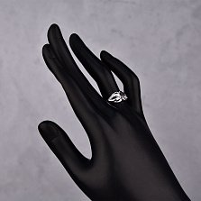 Серебряное кольцо Ирма с узорной шинкой, сапфиром и бриллиантами