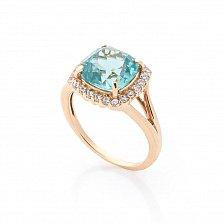 Золотое кольцо Агейп с аквамарином и белыми фианитами