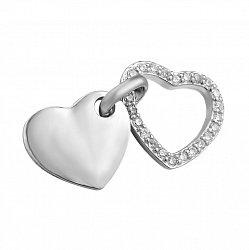 Серебряный кулон Сердце с цирконием в стиле минимализм