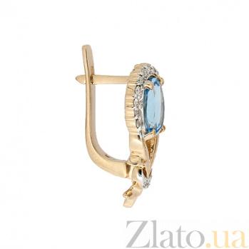 Золотые серьги с бриллиантами и топазами Наиль 000021733