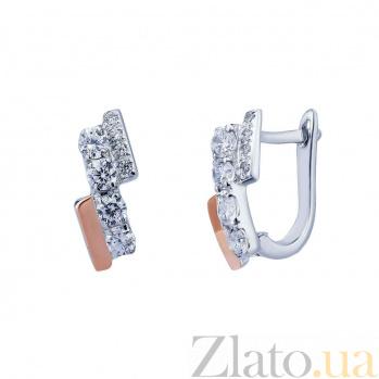 Серебряные серьги Виктория с золотом и фианитами AQA--К702С