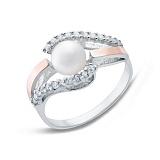 Серебряное кольцо с жемчугом и золотом Эльмира