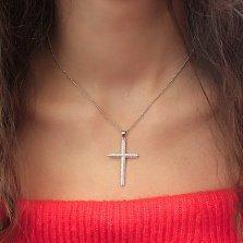 Серебряный крест Святое Благословение с фианитами