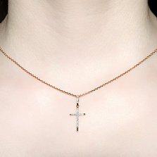 Декоративный крестик из красного золота с бриллиантами