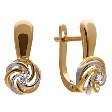 Золотые серьги Ванесса в комбинированном цвете с бриллиантами
