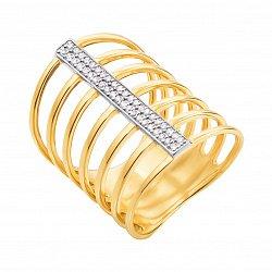 Золотое кольцо на всю фалангу Гейл в комбинированном цвете с дорожками фианитов