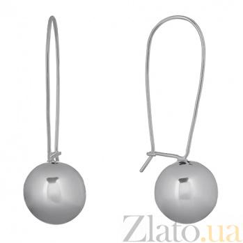 Серебряные серьги Шар, 15мм 000013154